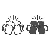 istock Toasting glasses of beer line and solid icon, Craft beer concept, Cheers sign on white background, Beer mugs icon in outline style for mobile concept and web design. Vector graphics. 1263827049