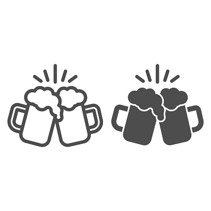 Toasting glasses of beer line and solid icon, Craft beer concept, Cheers sign on white background, Beer mugs icon in outline style for mobile concept and web design. Vector graphics.
