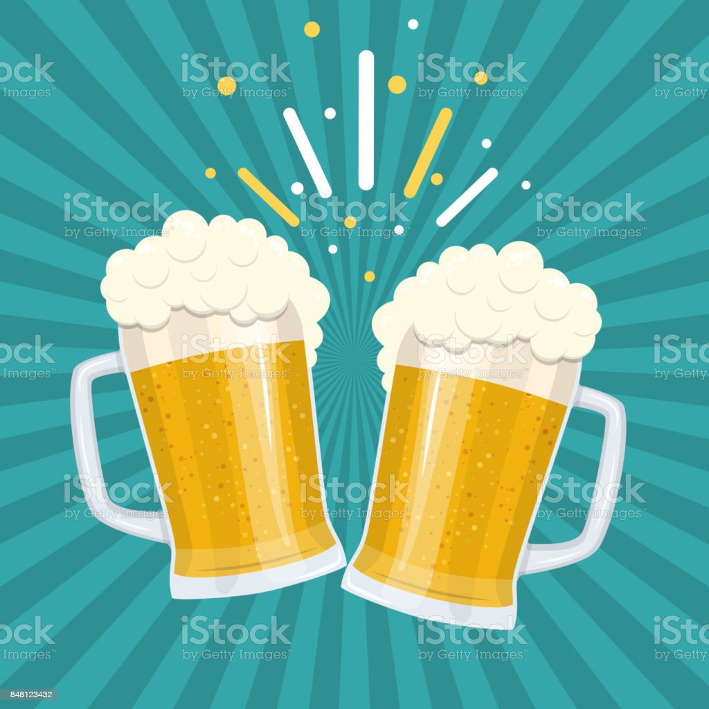 Toasting glasses of beer vector art illustration