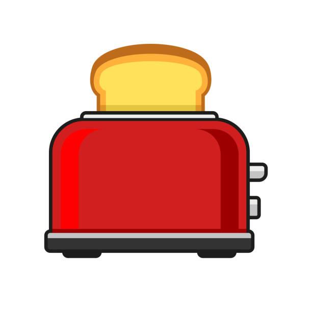 ilustrações de stock, clip art, desenhos animados e ícones de toasts flying out of red toaster. vector - burned cooking