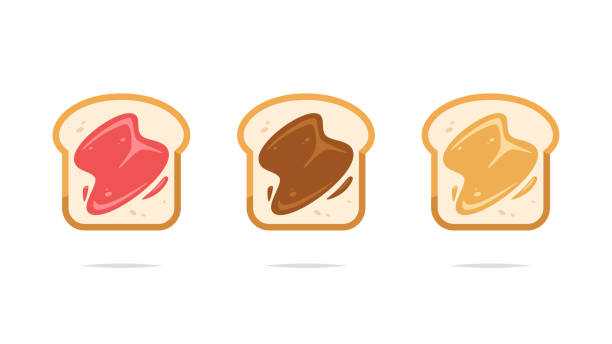 Toasts with strawberry jam chocolate and peanut butter vector Vector element bread clipart stock illustrations