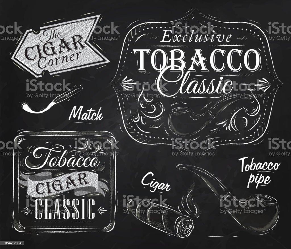 Tobacco and smoking cigar chalk vector art illustration