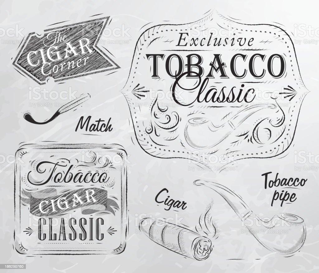 Tobacco and smoking cigar coal vector art illustration