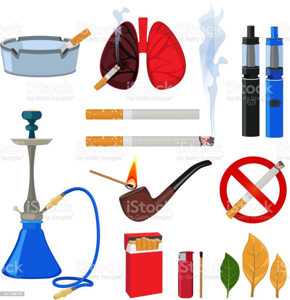 Ilustración de Tabaco Cigarrillos Y Diferentes Accesorios Para ...