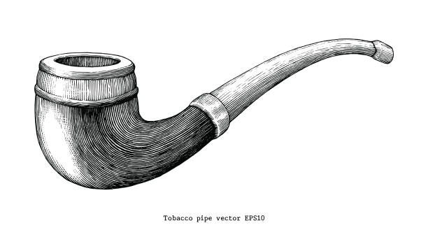 tobacco pipe hand drawing vintage clip art isolated on white background - граттаж stock illustrations