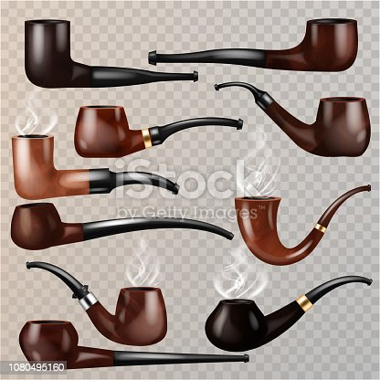 Tobacco pipe vector vintage nicotine smoker object classic retro smoking-pipe product illustration set of realistic old smoke accessory isolated on transparent background.
