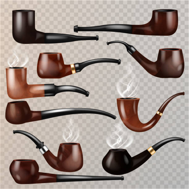 Tobacco pipe vector vintage nicotine smoker object classic retro Tobacco pipe vector vintage nicotine smoker object classic retro smoking-pipe product illustration set of realistic old smoke accessory isolated on transparent background. sherlock holmes stock illustrations