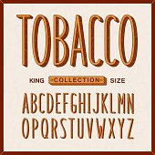 Tobacco style font. Vintage long letters with stylized texture. Vector handcraft alphabet.
