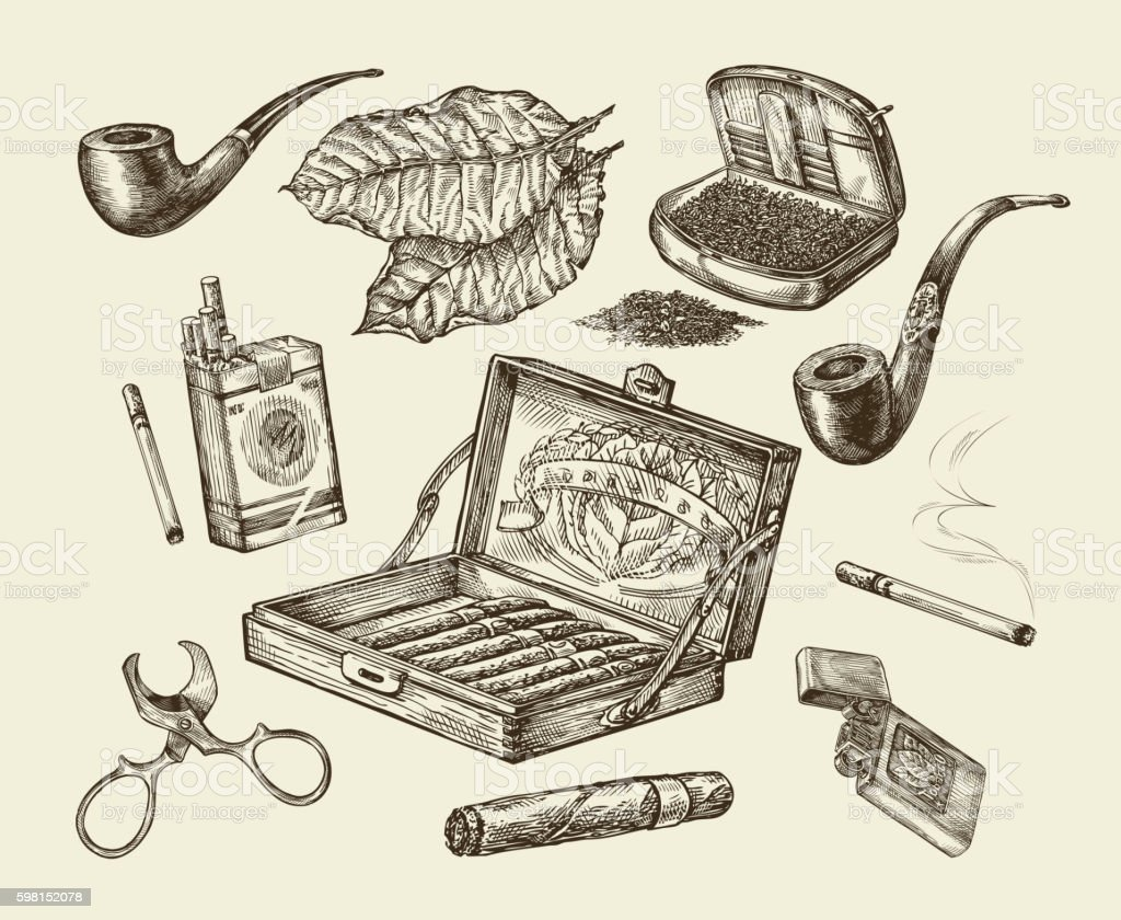 Tobacco. Vector collection smoking. Hand-drawn sketch pack of cigarettes vector art illustration