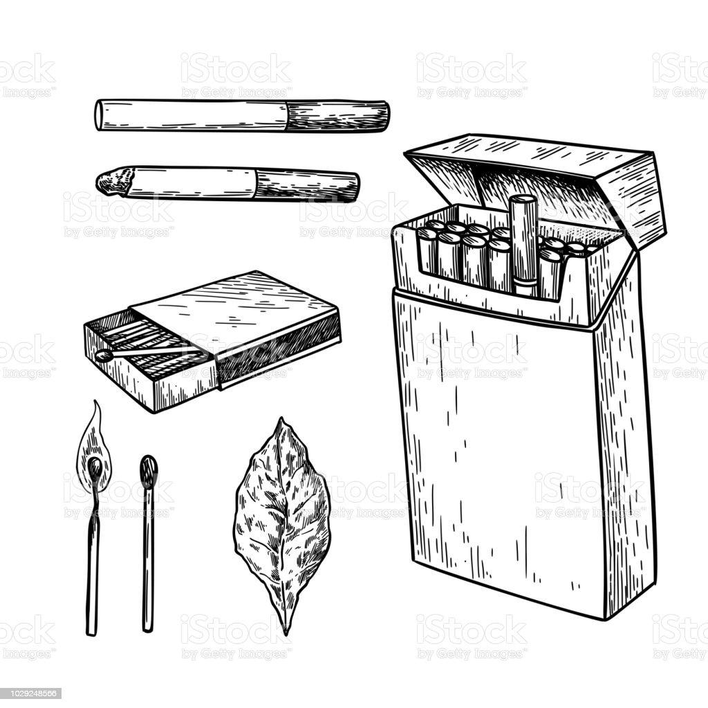 Dessin Paquet De Cigarette tabac tabac dessin vectoriel ensemble paquet de cigarettes boîte