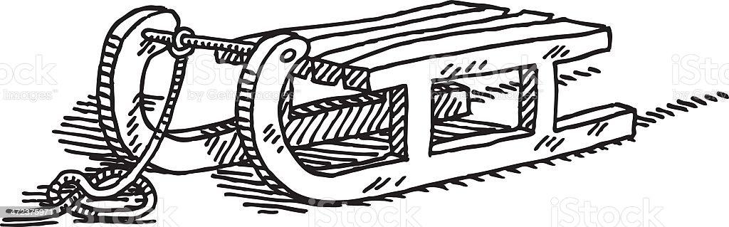 Toboggan Drawing royalty-free stock vector art