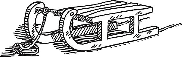 Toboggan Drawing Hand-drawn vector drawing of a Toboggan. Black-and-White sketch on a transparent background (.eps-file). Included files are EPS (v10) and Hi-Res JPG. winter sport stock illustrations