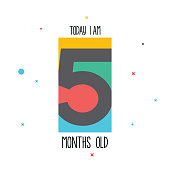 Today I am 5 months old. Baby sticker for little girls and boys. Great baby shower. Happy birth day stock illustration