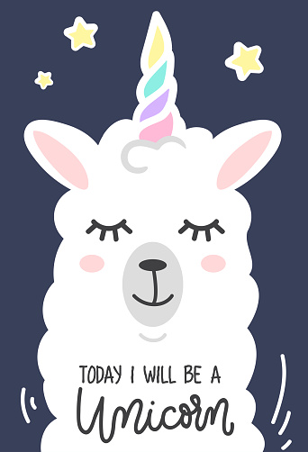 Today I will be a unicorn cute card with unicorn llama. Cute white wool llama isolated on light green background.
