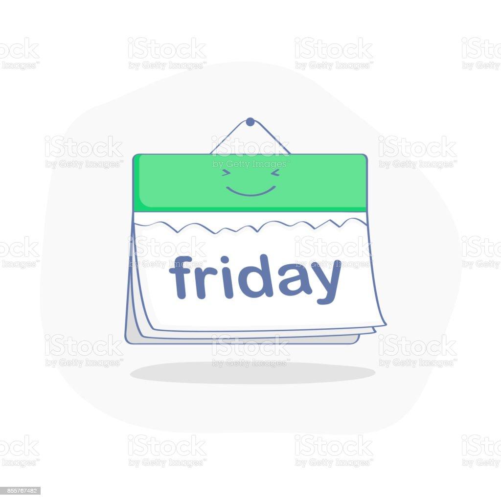Hoje é dia de conceito, verde sexta-feira no giro calenda feliz - ilustração de arte em vetor