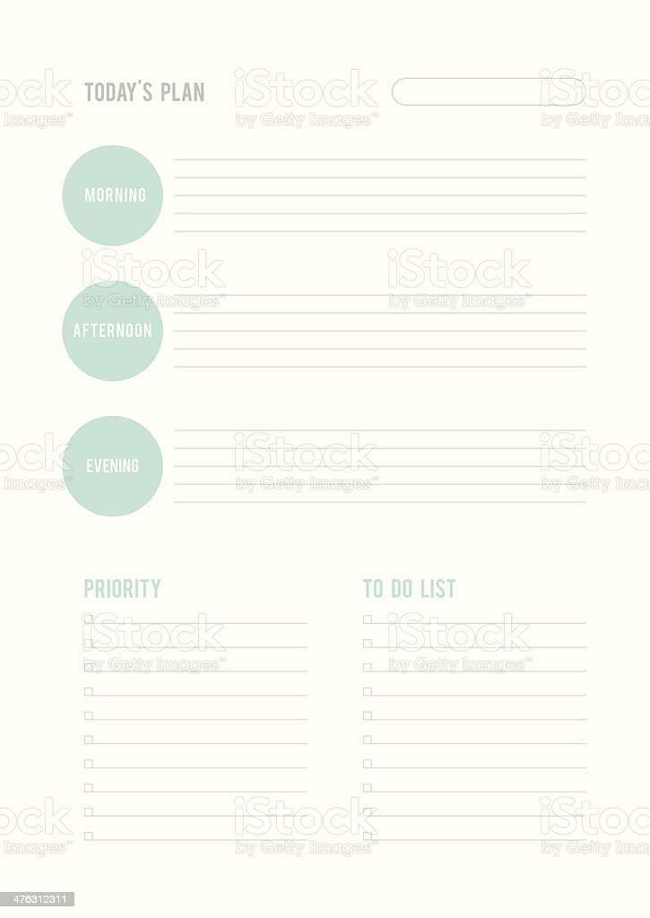 todays plan priority and to do list stock vector art more images