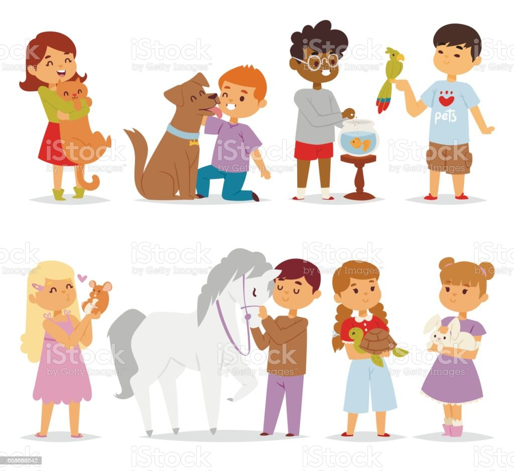 Toddler cartoon kids characters petting little pet in and cute kind child feeding animals friends in the zoo friendship vector illustration