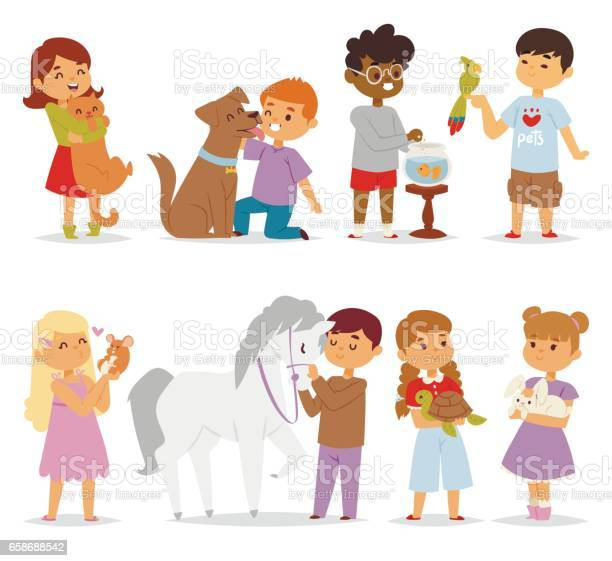 Toddler cartoon kids characters petting little pet in and cute kind vector id658688542?b=1&k=6&m=658688542&s=612x612&h=mxtu4bde0yzkmtfmxtwlt7cbulq7zroca3p7d3oru18=
