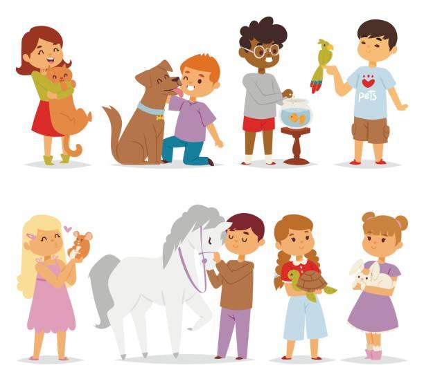 stockillustraties, clipart, cartoons en iconen met peuter cartoon kinderen tekens kinderboerderij kleine huisdier in en leuke vriendelijke kind voederen van dieren vrienden in de dierentuin vriendschap vectorillustratie - teenager animal