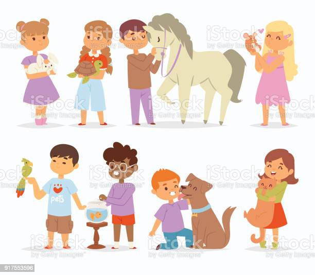 Toddler cartoon vector kids characters petting little pet in and cute vector id917553596?b=1&k=6&m=917553596&s=612x612&h=9pcaskrocl2 2cwpel0xmkkfbzxtwpqm16apljourau=