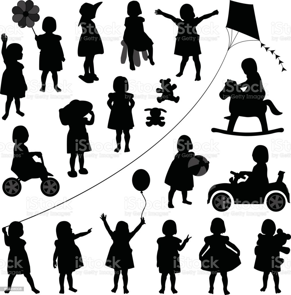 Toddler Child Girl in Silhouette Vector - illustrazione arte vettoriale