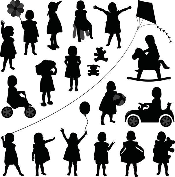 kleinkind kind mädchen in silhouette vektor - toddler stock-grafiken, -clipart, -cartoons und -symbole
