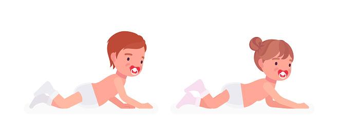 Toddler child, little boy, girl enjoying crawling