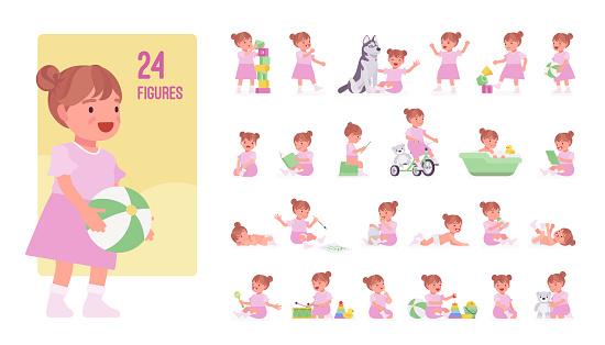 Toddler child, little girl playing with toy character set