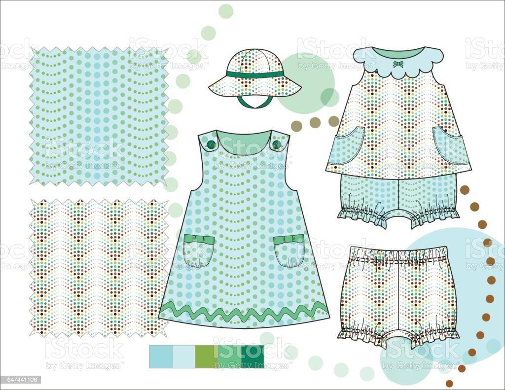 Toddler Girl Top and Dress Bloomer Aqua Dots illustration vector art illustration