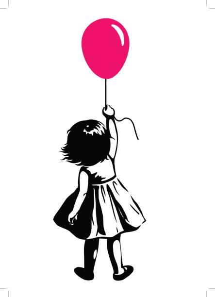 kleinkind mädchen mit roten ballon, street-art-graffiti-stil - kindersprüche stock-grafiken, -clipart, -cartoons und -symbole
