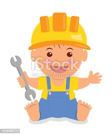 Toddler in the construction hardhat with a wrench.