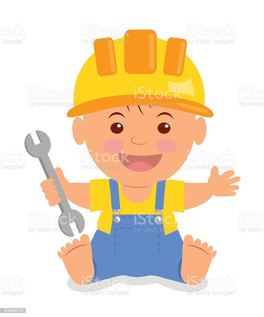 Toddler in the construction hardhat with a wrench. vector art illustration