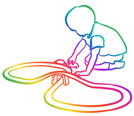 Toddler Playing With Car Track Rainbow