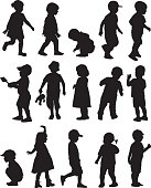 Vector silhouettes of fifteen boy and girl toddlers