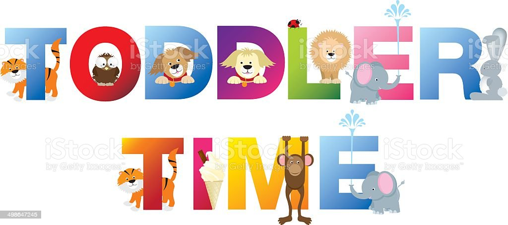 Toddler time word in childrens alphabet typeface vector art illustration