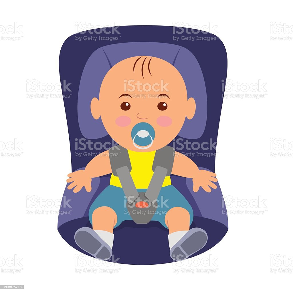 Toddler wearing a seatbelt in the car seat. vector art illustration