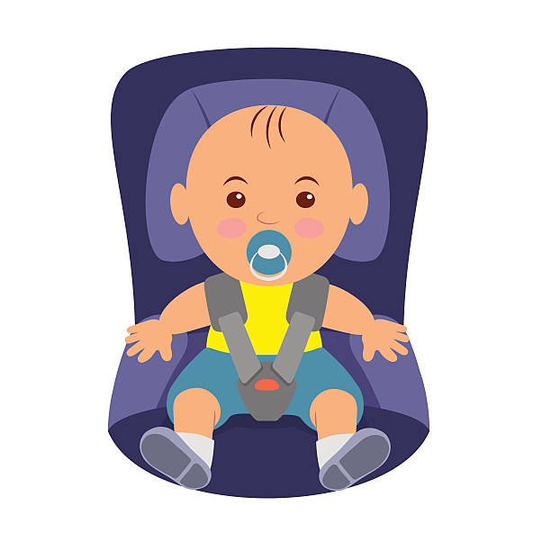 Toddler Wearing A Seatbelt In The Car Seat Vector Art Illustration