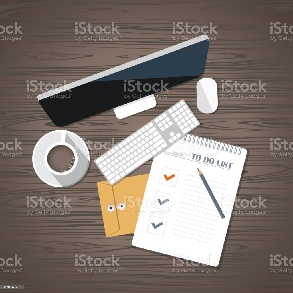 todo list concept desk with business equipment flat vector