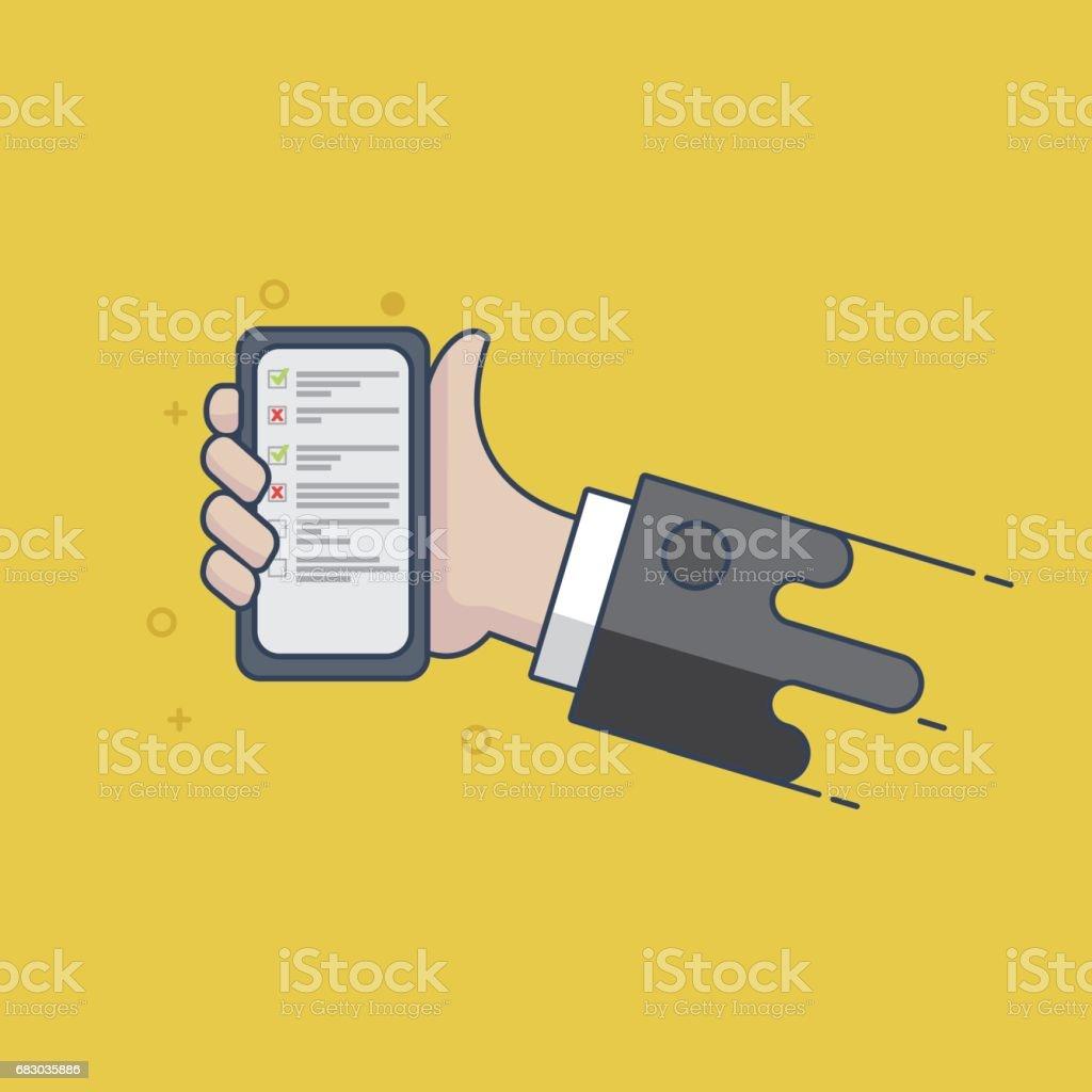 Todo list on smartphone screen - Illustration todo list on smartphone screen illustration - arte vetorial de stock e mais imagens de acabar royalty-free