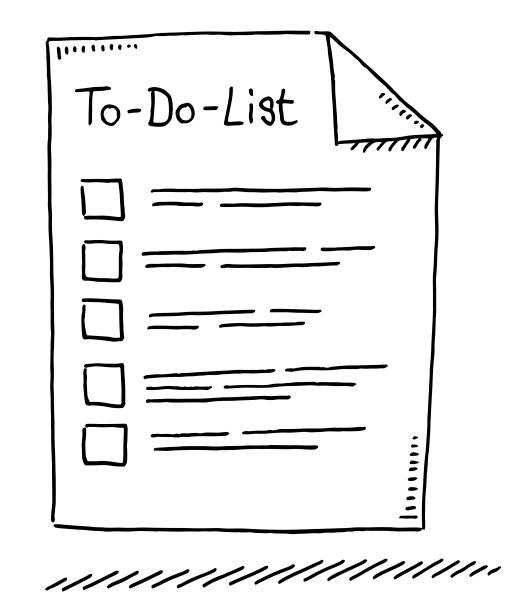 illustrazioni stock, clip art, cartoni animati e icone di tendenza di to-do-list symbol drawing - to do list