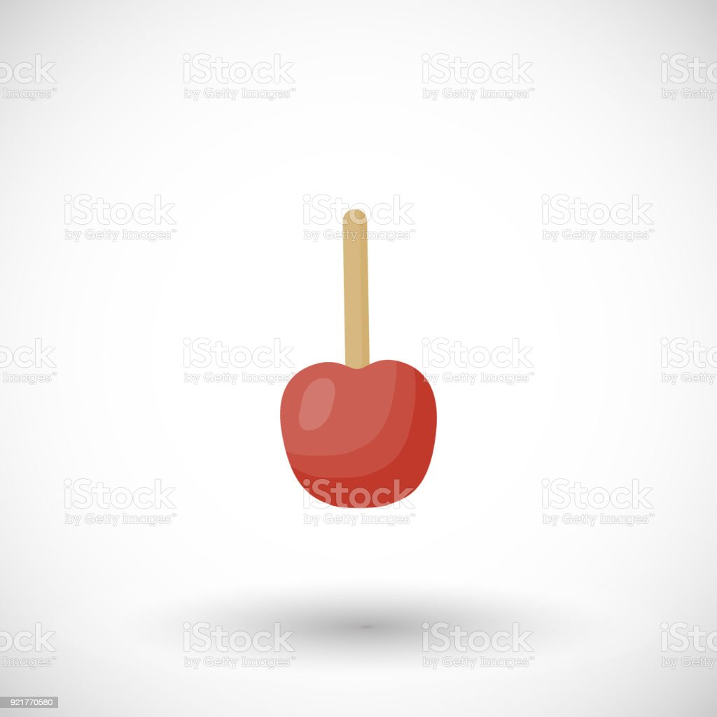 Toffee apple or red candy apple vector flat icon vector art illustration