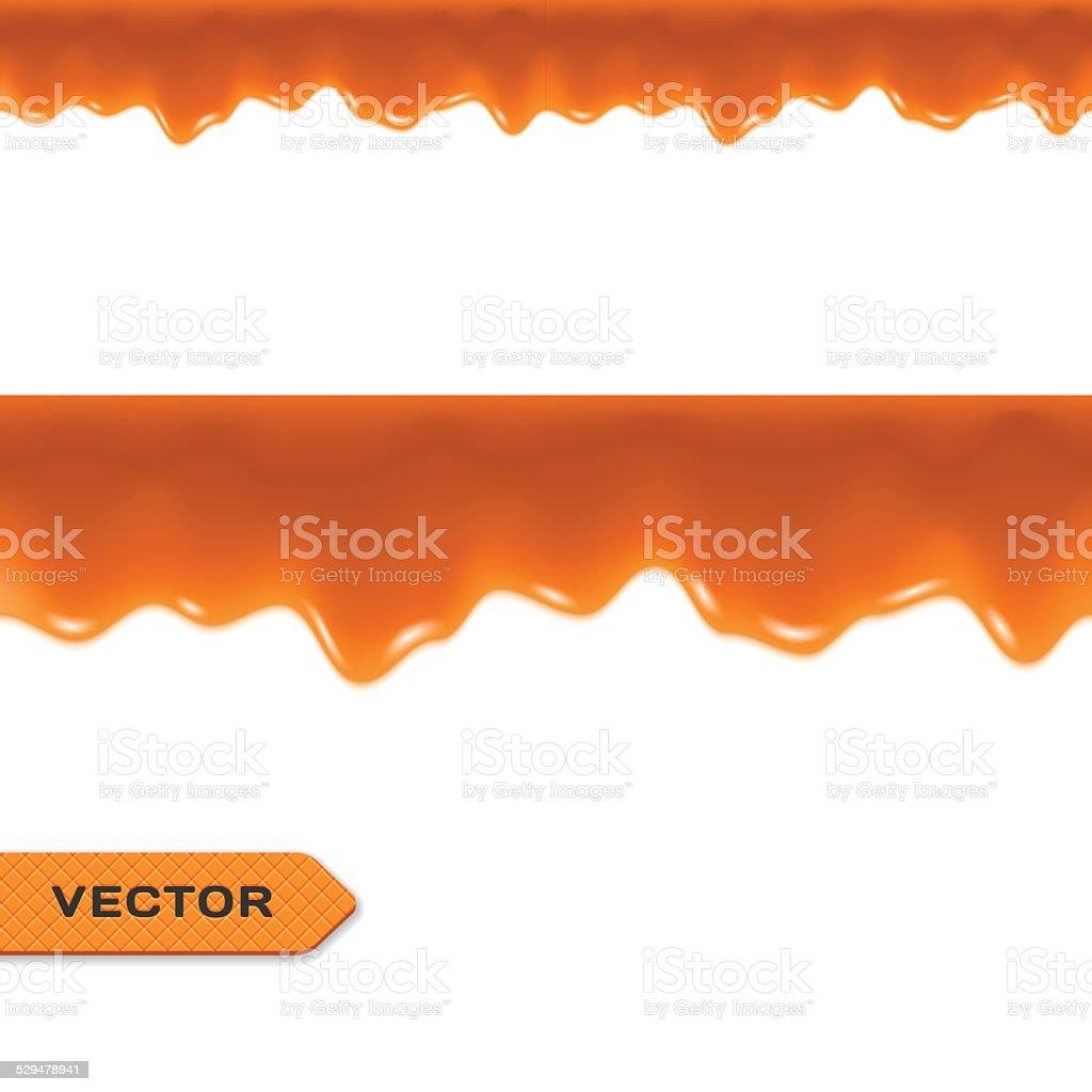 Toffee. Caramel Drips. Seamless Border. Vector vector art illustration