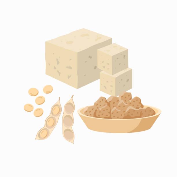stockillustraties, clipart, cartoons en iconen met tofu en sojaboon pod met soja zaden en soja vlees in de plaat geïsoleerd op witte achtergrond. vector illustratie in vlak ontwerp. - tofoe