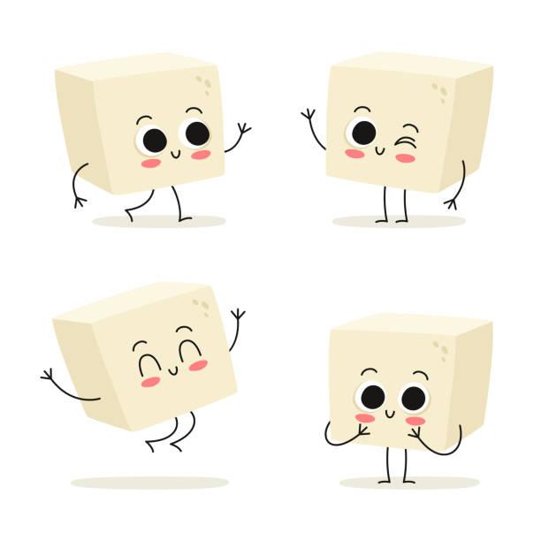 stockillustraties, clipart, cartoons en iconen met tofu. schattig veganistische tekenset proteïne eten vector geïsoleerd op wit - vleesvervanger