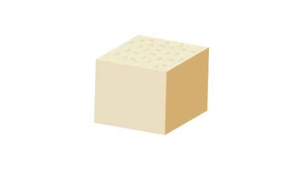 stockillustraties, clipart, cartoons en iconen met pictogram van de platte vector van tofu, soja kaas plat ontwerp - tofoe