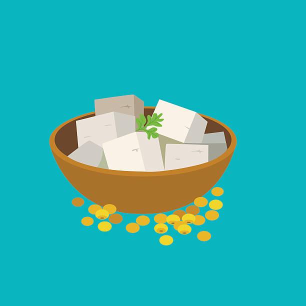 stockillustraties, clipart, cartoons en iconen met tofu - vleesvervanger