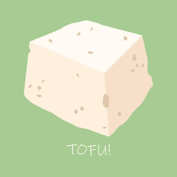 stockillustraties, clipart, cartoons en iconen met tofu vectorillustratie. soja levensmiddelen. veganistisch eten - tofoe