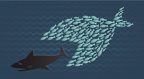 Ensemble, nous sommes: Petits poissons eats gros Requin - Illustration vectorielle