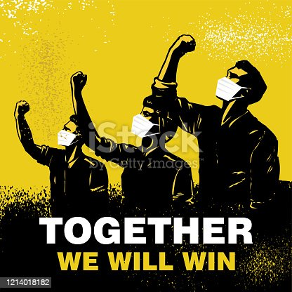 Together we will win banner, Illustration of people wearing protective masks and raising fists. Vector