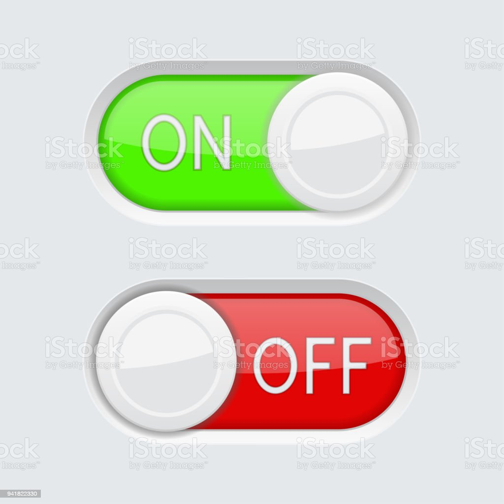 Toggle Switch Buttons Green And Red On And Off Symbols Stock Vector ...